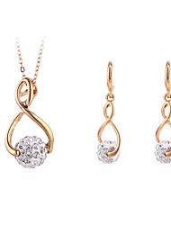cheap -Women's Necklace Earrings Twisted Ball Simple Vintage European Fashion Imitation Diamond Earrings Jewelry Gold For Party Gift Daily Holiday Work 1 set