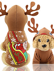 cheap -Dogs Vest Christmas Winter Dog Clothes Coffee Christmas Costume Baby Small Dog Bichon Frise Poodle Fabric Halloween XS S M L XL XXL