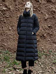 Недорогие -Жен. Однотонный Длинная Парка, Полиэфир Черный M / L / XL