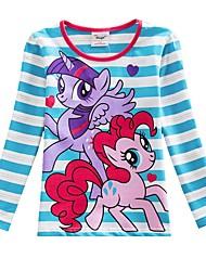 cheap -Kids Girls' Boho Blue & White Blue Horse Striped Color Block Print Long Sleeve Cotton Tee Blue