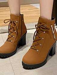 cheap -Women's Boots Chunky Heel Round Toe Rivet PU Booties / Ankle Boots Vintage / Casual Spring &  Fall / Fall & Winter Black / Brown