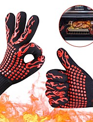 cheap -2pcs High temperature Resistant 800 BBQ Fire Gloves Flame Retardant Non-slip Fireproof Grill Insulation Microwave Oven Gloves