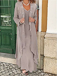 cheap -Two Piece A-Line Mother of the Bride Dress Wrap Included Jewel Neck Plus Size Floor Length Chiffon Long Sleeve with Appliques 2020 Mother of the groom dresses