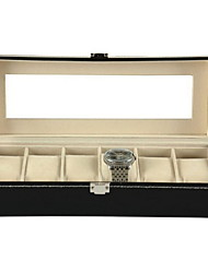 cheap -Storage Or6-Slot Watch Box, Glass Topped Watch Display Storage Case as Gift, with  Cushions, and Lock, Blackganization Watch Boxes PU Leather
