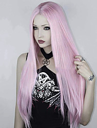 cheap -Hair Care Synthetic Lace Front Wig Synthetic Extentions Silky Straight Middle Part Lace Front Wig Pink Long Pink Synthetic Hair 18-24 inch Women's Soft Party Synthetic Pink