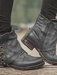 cheap -Women's Boots Comfort Shoes Flat Heel Round Toe PU Mid-Calf Boots Winter Black / Dark Brown / Gray