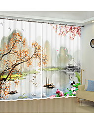 cheap -Chinese Style Modern Oil Painting Environmental Protection Digital Printing 3d Curtain Festival Shade Curtain High Precision Black Silk Cloth High Quality Grade One Shade Bedroom Living Room Curtain