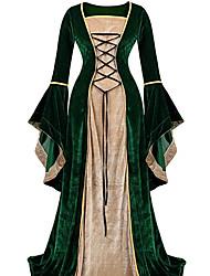 cheap -Retro Vintage Medieval Dress Women's Velvet Costume Black / Purple / Green Vintage Cosplay Party Prom Long Sleeve Floor Length Long Length