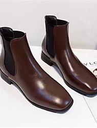 cheap -Women's Boots Low Heel Square Toe PU Casual / Minimalism Walking Shoes Spring &  Fall / Winter Black / Coffee