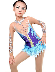cheap -Women's Girls' Rhythmic Gymnastics Leotards Artistic Gymnastics Leotards Print Sky Blue Dance Ice Skating Rhythmic Gymnastics Leotard Plus Size Long Sleeve Sport Activewear Handmade High Elasticity