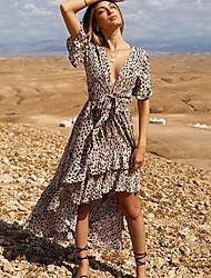 Недорогие -Жен. Ассиметричное С летящей юбкой Платье - С короткими рукавами Леопард Глубокий V-образный вырез Элегантный стиль Светло-коричневый S M L XL