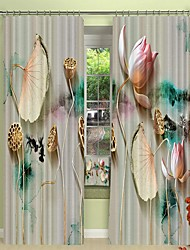cheap -Three Dimensional Lotus Digital Printing in Front of Ink Background 3D Curtain Shading Curtain High Precision Black Silk Fabric High Quality Curtain