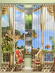 abordables -la ville balnéaire en dehors du balcon impression numérique 3d rideau occultation rideau haute précision tissu de soie noire de haute qualité première classe rideau occultant