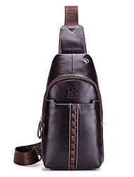 cheap -Men's Zipper Cowhide Sling Shoulder Bag Animal Coffee