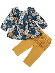 cheap -Baby Girls' Street chic Floral Long Sleeve Regular Clothing Set Navy Blue