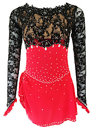cheap -21Grams Figure Skating Dress Women's Girls' Ice Skating Dress Red Open Back Spandex Micro-elastic Training Skating Wear Classic Crystal / Rhinestone Sleeveless Ice Skating Figure Skating