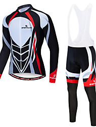 cheap -EVERVOLVE Men's Long Sleeve Cycling Jersey with Bib Tights Black White Bike Clothing Suit Winter Sports Fleece Lycra Mountain Bike MTB Road Bike Cycling Clothing Apparel / Advanced / High Elasticity