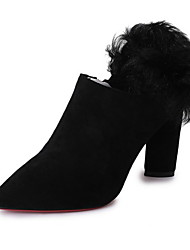 cheap -Women's Boots Chunky Heel Pointed Toe Suede Booties / Ankle Boots Winter Black / Coffee