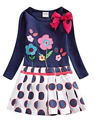 cheap -Kids Girls' Chinoiserie Blue & White Butterfly Plants Floral Bow Embroidered Pleated Long Sleeve Above Knee Dress Royal Blue / Cotton