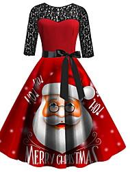 cheap -Women's Red Dress Elegant Christmas Party A Line Geometric Lace Print S M