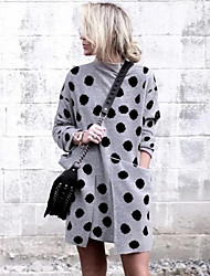 cheap -Women's Blushing Pink Brown Dress Street chic Daily Wear A Line Polka Dot Turtleneck S M
