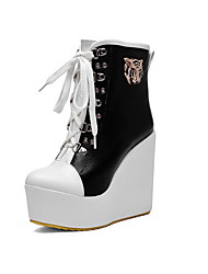 cheap -Women's Boots Wedge Heel Round Toe PU Booties / Ankle Boots Fall & Winter Black / Yellow / Blue / Color Block