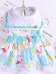 cheap -Dog Cat Pets Dress Dog Clothes Light Blue Pink Costume Polyster Print Lace Dresses&Skirts XS S M L XL