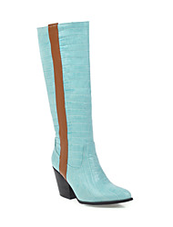 cheap -Women's Boots Knee High Boots Chunky Heel Round Toe PU Knee High Boots Classic Fall & Winter Black / Yellow / Blue / Party & Evening / Color Block