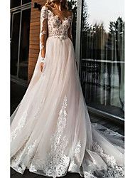 cheap -A-Line V Neck Sweep / Brush Train Lace / Tulle Long Sleeve Beach Backless Made-To-Measure Wedding Dresses with Appliques 2020