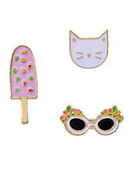 cheap -Women's Brooches Geometrical Cat Creative Ice Cream Artistic Simple Classic Trendy Elegant Brooch Jewelry Golden For Engagement Gift Daily School Festival / 3pcs