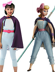 cheap -Toy Story Bo Peep Headpiece Cloak Outfits Girls' Movie Cosplay A-Line Slip Cosplay Costume Party Purple Leotard / Onesie Cloak Headwear Halloween Carnival Masquerade Poly / Cotton Blend
