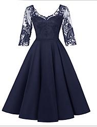 cheap -Women's Wine Black Dress A Line Solid Colored S M