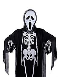 Недорогие -Призрак Товары для Хэллоуина Взрослые Муж. Хэллоуин Halloween фестиваль Хэллоуин Фестиваль / праздник Терилен Черный / Красный + черный Муж. Жен. Карнавальные костюмы Кость / Стринги / Маски