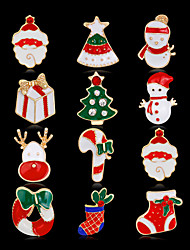 cheap -Women's Brooches 3D Santa Suits Christmas Tree Fashion Gold Plated Brooch Jewelry Rainbow For Christmas Party Festival / 12pcs