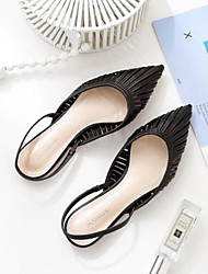 cheap -Women's Sandals Flat Heel Pointed Toe PU Summer Black / Orange / Green