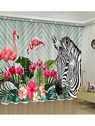 cheap -White  Zebra and Flamingo Digital Printed 3d Curtain Shade Curtain High Precision Black Silk Fabric High Quality Grade One Shade Bedroom Living Room Curtain