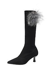 cheap -Women's Boots Knee High Boots Kitten Heel Pointed Toe Pom-pom PU Knee High Boots Sweet / Minimalism Fall & Winter Black