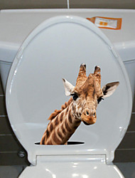 Недорогие -Наклейки для туалета - Наклейки для животных Животные Гостиная / Спальня / Кухня