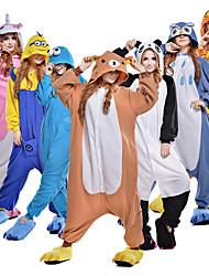 cheap -Adults' Kigurumi Pajamas Cookie Anime Movie / TV Theme Costumes Onesie Pajamas Polar Fleece Brown / White+Blue / Black / White Cosplay For Men and Women Animal Sleepwear Cartoon Festival / Holiday