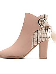 cheap -Women's Boots Chunky Heel Pointed Toe PU Winter Khaki / Black