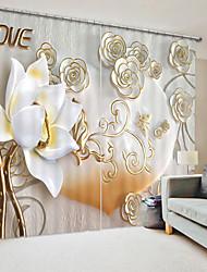 cheap -Three Dimensional Ceramic Style White Lotus Digital Printing 3D Curtain Shading Curtain High Precision Black Silk Cloth High Quality Curtain