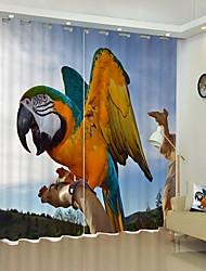 cheap -Macaw Digital Printing 3D Crtain Shading Curtain High Precision Black Silk Fabric High Quality Curtain