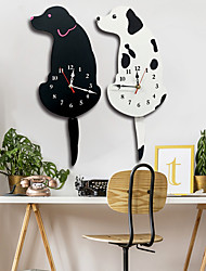 cheap -M.Sparkling New Arrival White/Black Wagging Tail Dog Wall Clock kitchen Decoration Unique Gift