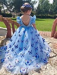 Недорогие -Дети Девочки Бабочка Макси Платье Синий