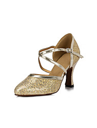 cheap -Women's Modern Shoes / Ballroom Shoes Lace Cross Strap Heel Tassel Thick Heel Customizable Dance Shoes Gold / Silver / Performance