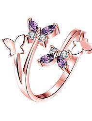 abordables -Femme Bague / Anneaux Zircon cubique 1pc Dorée Rose Argent Platiné Alliage Elégant Quotidien Bijoux Mignon