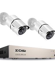 Недорогие -Система видеонаблюдения zosi 4ch DVR Kit HD 1080p системы видеонаблюдения 2шт 2-мегапиксельная камера наружного видеонаблюдения комплект домашней безопасности