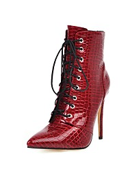 cheap -Women's Boots Stiletto Heel Pointed Toe Patent Leather Mid-Calf Boots Classic Fall & Winter Black / White / Burgundy / Wedding / Party & Evening