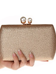 cheap -Women's Glitter PU Evening Bag Solid Color Black / Champagne / Gold