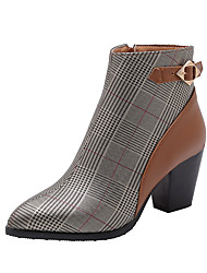 cheap -Women's Boots Block Heel Pointed Toe Buckle PU Booties / Ankle Boots Classic / Casual Spring &  Fall / Fall & Winter Black / Brown